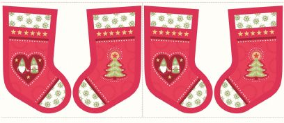 Lewis & Irene - Hygge Christmas - 5991 - Stocking Panel in Red - C31.3 - Cotton Fabric